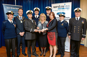 Rhyl Coastguard Rescue Team receiving their award at the Mayor of Rhyl's Gala Charity Evening on Saturday 19 April.