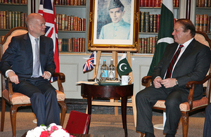 Foreign Secretary William Hague meeting Pakistan Prime Minister Nawaz Sharif