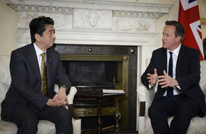 Prime Minister David Cameron and the Prime Minister of Japan, Shinzo Abe.