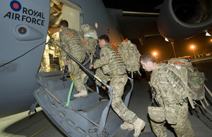 Kingsmen from 1st Battalion The Duke of Lancaster's Regiment board an RAF C-17 Globemaster (library image) [Picture: Corporal Jamie Peters RLC, Crown copyright]