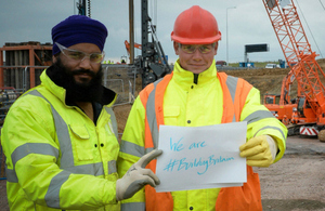 Karbinder Sinsk and William Benjamin, working for Skanska at the M1 junction 19 improvement scheme in Leicestershire.