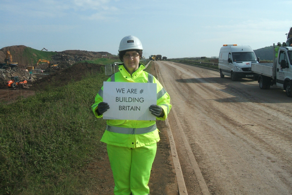 Emma Hatherley, health and safety coordinator, with Highways Agency contractor, Laing O'Rourke, at the West Leake Earthworks on the A453 widening scheme in Nottinghamshire. Work got underway in January 2013, and it is due to be completed in summer 2015.