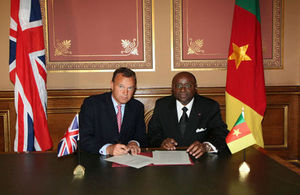 Minister Moukoko Mbonjo of Cameroon at the 2013 UK-Cameroon Joint Commission