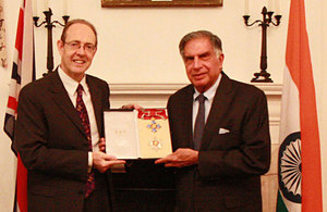 Sir James Bevan with Ratan Tata