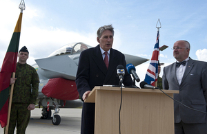 Defence Secretary Philip Hammond at Siauliai Air Base in Lithuania [Picture: Corporal Neil Bryden RAF, Crown copyright]