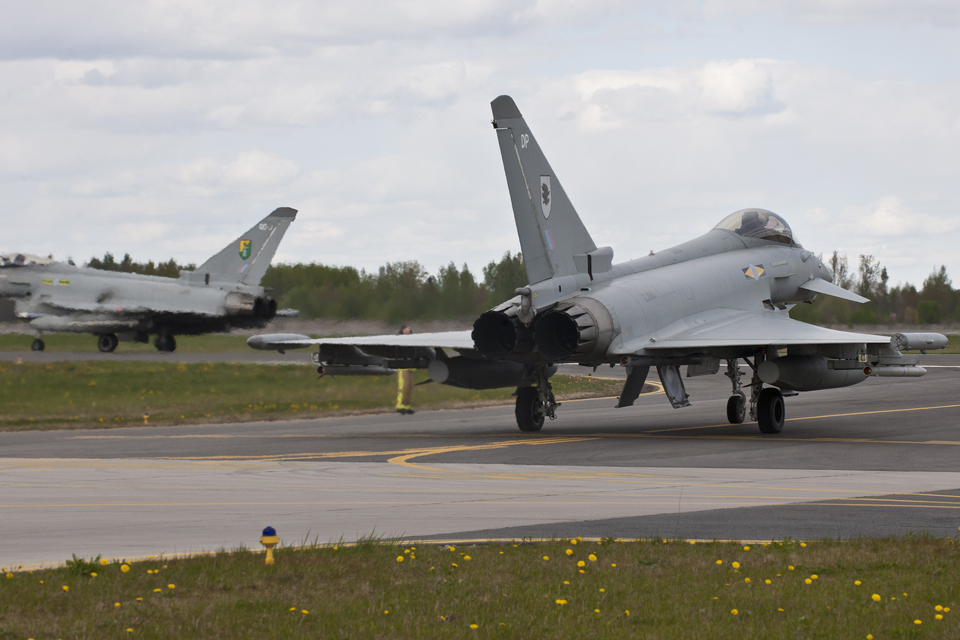 Typhoon aircraft practise a scramble
