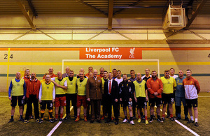 Armed forces veterans with Liverpool Football Club staff and Brigadier Chris Coles at the club's academy in Kirkby [Picture: Copyright Liverpool Football Club]