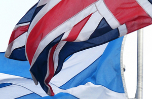 The Scottish saltire flag and the Union Jack.