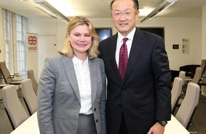 International Development Secretary Justine Greening and World Bank President Dr. Jim Yong Kim. Picture: Russell Watkins/DFID