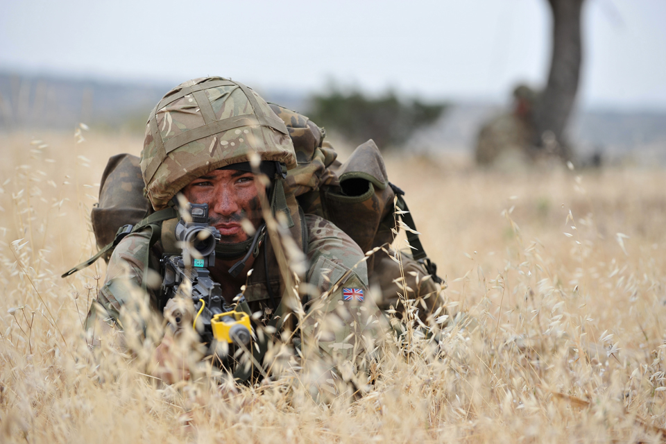 An army reservist on exercise