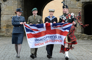 Service personnel with an Armed Forces Day flag at Stirling Castle [Picture: Mark Owens, Crown copyright]