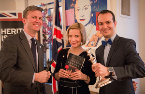 Chris Martin, HRP Head of Development, Dr Lucy Worsley, HRP Chief Curator and author, and Consul General Danny Lopez.