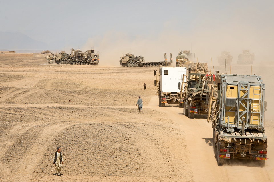Military vehicles transporting equipment from Sterga to Camp Bastion
