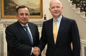 Foreign Secretary William Hague meeting Egyptian Foreign Minister Nabil Fahmy