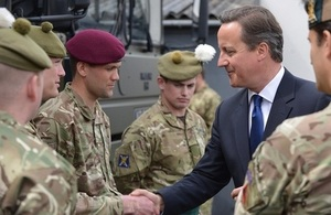 David Cameron met members of the armed forces at the 6 Scots headquarters in Glasgow.