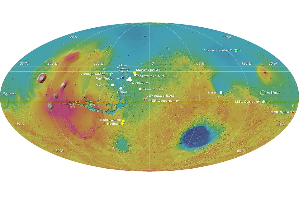 MOLA elevation map of Mars with the eight landing sites proposed for the ExoMars 2018 mission. Credit: ESA-Roscosmos/LSSWG/E. Hauber
