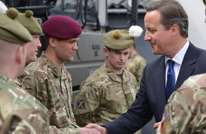 Prime Minister David Cameron meeting soldiers in Glasgow [Picture: Crown copyright]