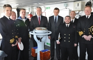 Secretary of State David Jones MP and First Minister Carwyn Jones AM meet Welsh crew members aboard HMS Dragon