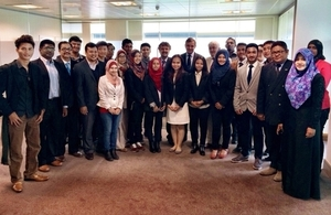 Secretary of State for Wales David Jones MP with students from the International University of Malaya-Wales