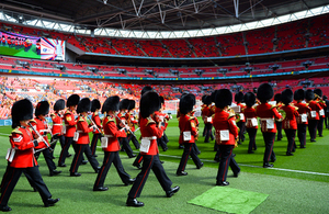 The Band of the Welsh Guards performs at Wembley Stadium [Picture: Copyright Laurence Griffiths - The FA]