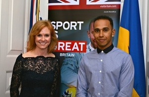 High Commissioner Victoria Dean welcoming Lewis Hamilton