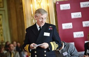 UK Military Representative to NATO and the EU Vice Admiral Ian Corder addresses the crowd