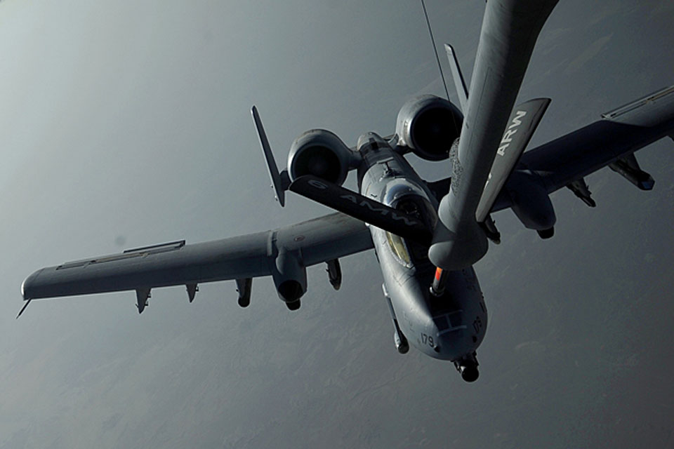 A US Marine Corps A-10 Thunderbolt II 'Warthog' aircraft takes on fuel from a KC-135 Stratotanker aircraft over Afghanistan