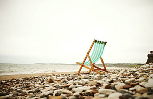 Deck chair on beach
