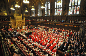 Members of the House of Lords listen to the Queens speech