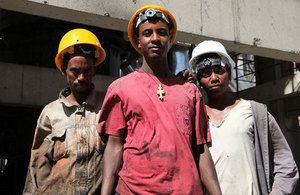 Working their way out of poverty: workers at a cement factory in Ethiopia. Picture: Gavin Houtheusen/DFID