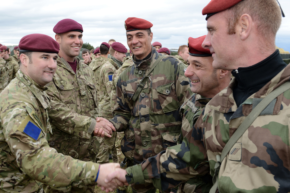 British and French paratroopers congratulate each other