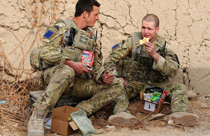 Soldiers eating from a ration pack in Afghanistan (library image) [Picture: Sergeant Rupert Frere RLC, Crown copyright]