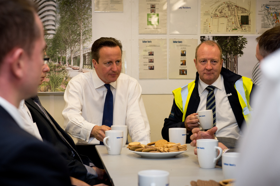 David Cameron at Balfour Beatty's construction site in Westminster