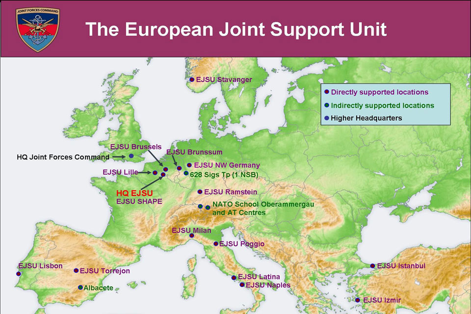 Map of Europe showing the supported locations of European Joint Support Unit (EJSU)