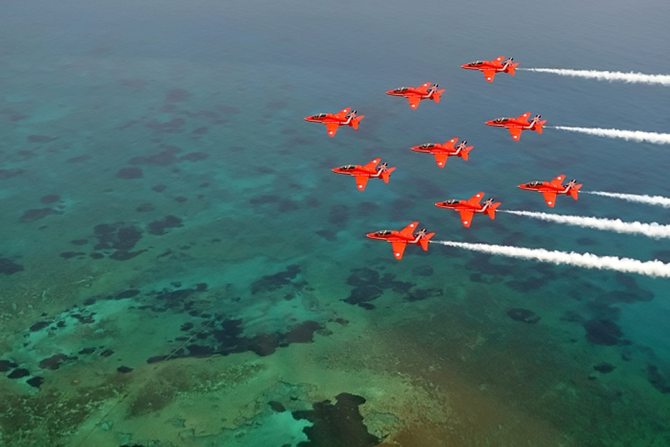 Hawk jets in a 'diamond nine' formation