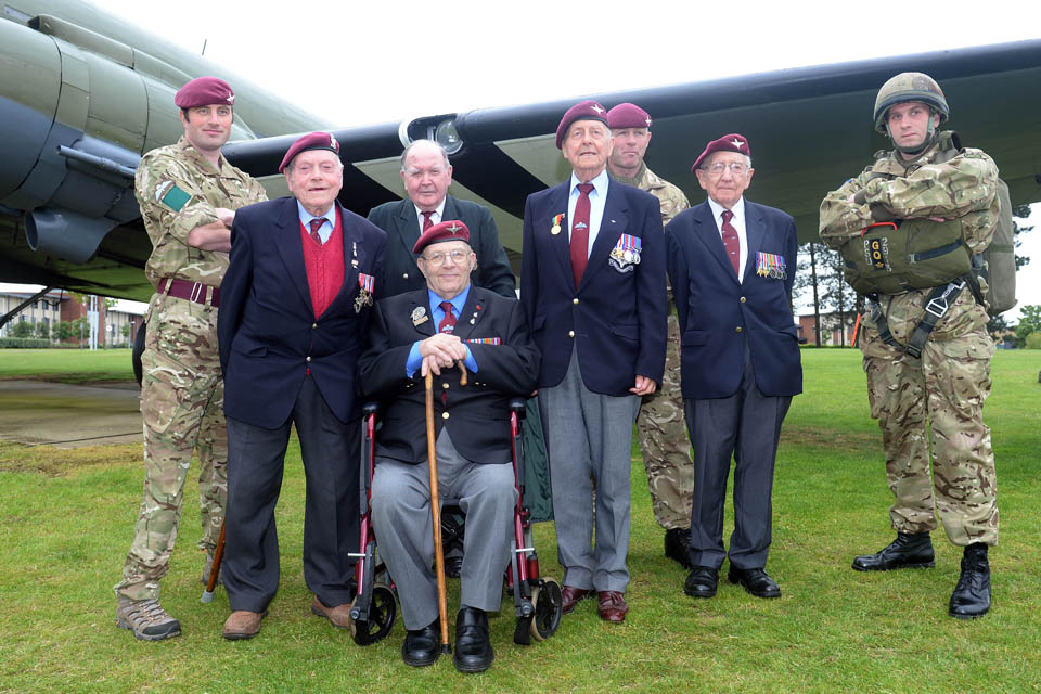 Veterans of the Normandy landings with current members of the Parachute Regiment