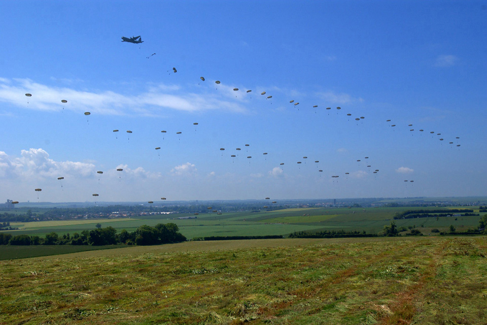 British paratroopers jump onto a Normandy landing zone