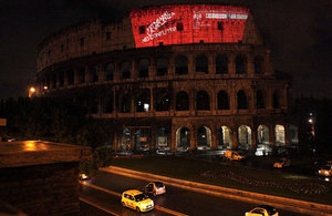 #TimeToAct projection on the Coliseum in Rome, March 2013