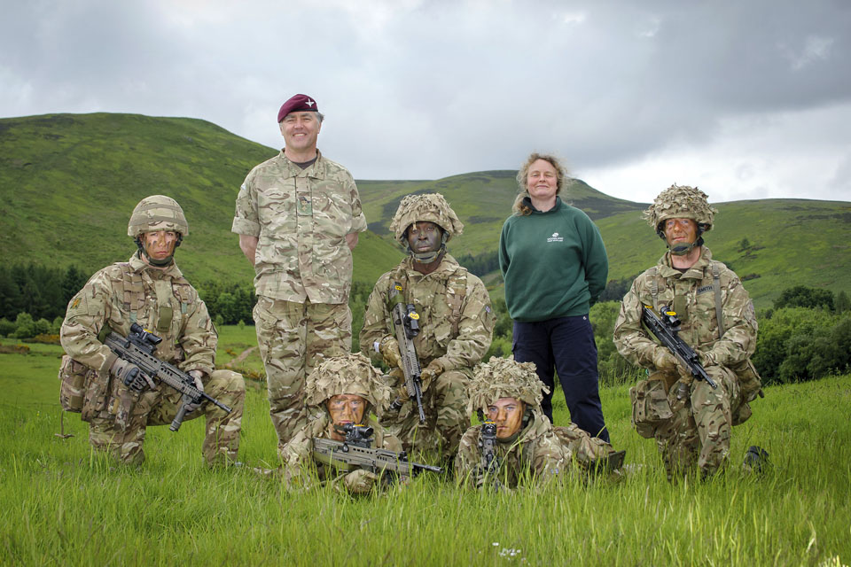 Soldiers with Lieutenant Colonel Peter Hollins and Carol Evans