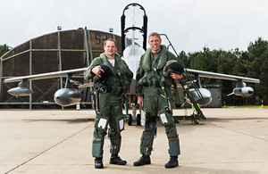 French Air Force pilot Commandant Stephane Peubez (left) and RAF Wing Commander Jez Holmes in front of the Tornado GR4 they flew over the D-Day beaches [Picture: Senior Aircraftman Andy Wright, Crown copyright]