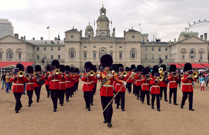 Musicians of the Massed Bands of the Household Division on Horse Guards Parade [Picture: Sergeant Steve Blake, Crown copyright]