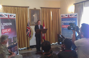 Hugo Swire MP addressed a Press Conference in Kathmandu