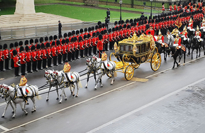 The Queen's carriage arriving at the Houses of Parliament [Picture: Crown copyright]