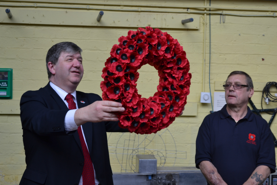 Alistair Carmichael at Lady Haig poppy factory