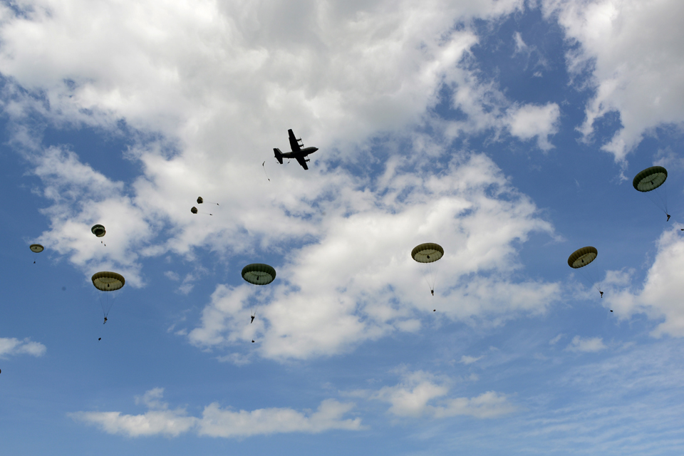 British, Canadian, French and American paratroopers