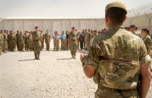 UK personnel at the final Joint Force Support (Afghanistan) handover ceremony [Picture: Corporal Daniel Wiepen, Crown copyright]