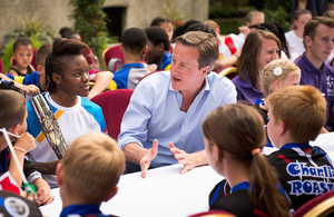 David Cameron talks to Olympic boxer Nicola Adams.