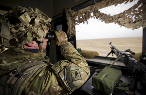 An RAF gunner from 51 Squadron RAF Regiment mans an observation post at Camp Bastion (library image) [Picture: Sergeant Ross Tilly RAF, Crown copyright]