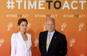 UN Special Envoy Angelina Jolie and Foreign Secretary William Hague at the Global Summit to End Sexual Violence in Conflict. Picture: FCO