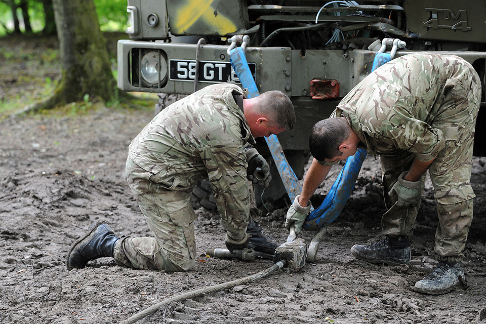 Army reservists during a recovery exercise